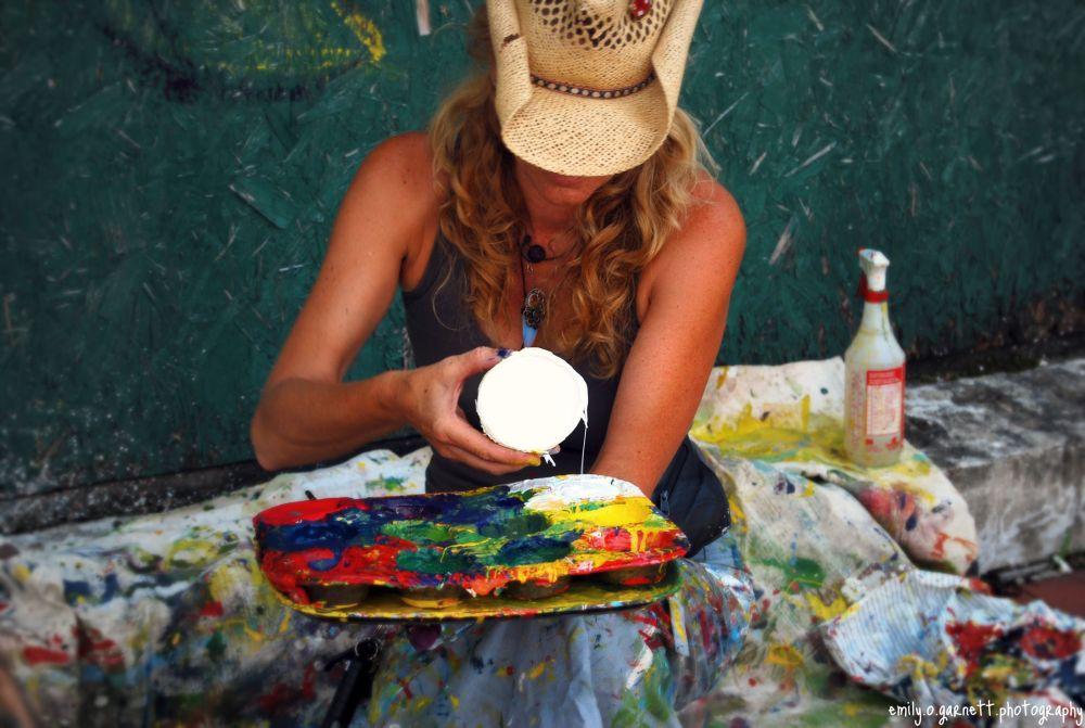 Andrea LaHue aka Random Act painting in West Virginia