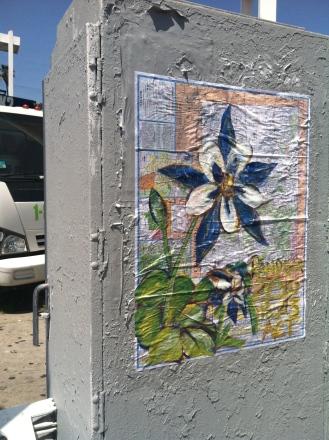 Street art in los angeles, random act, andrea lahue, la hue, map earthday,earth day, flower