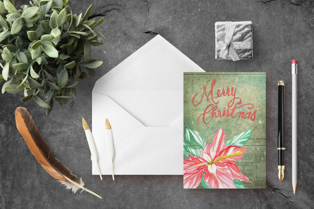 Christmas map pointsettia Cards-Envelope