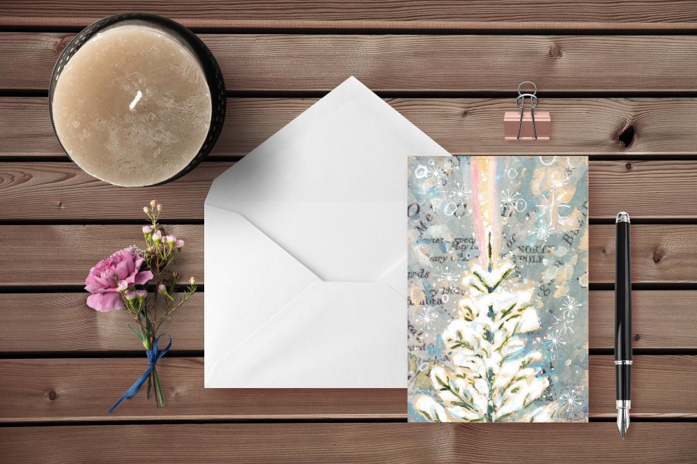 rainbow tree Greeting Cards-Envelope